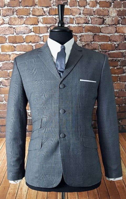 """Gray"" Grey & Red Check Three Button Suit"